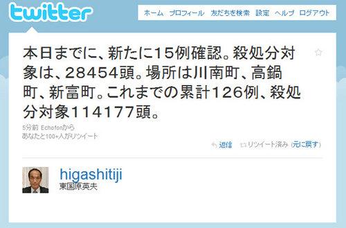 2010/5/18 12:23の東国原知事のつぶやき